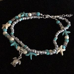 Jewelry - WATER RESISTANT TURTLE & STARFISH ANKLE BRACELET